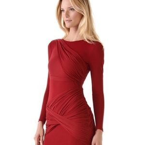 Alice + Olivia Red long sleeve party dress size 6